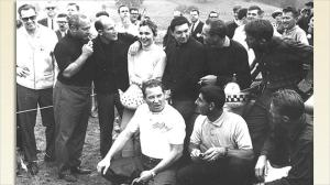 1962 Laguna Seca - L-R back row: Juan Manuel Fangio, Stirling Moss, Denise McCluggage, Pedro Rodriguez, Innes Ireland and....Ronnie Bucknum. L-R front row: Roger Ward, Jack Flaherty, and Dan Gurney.