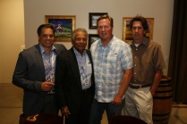 Derek Torry (2nd from right) and his navigator and friend Pete, join Viju Mathews (left) and father
